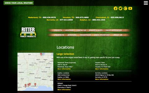 Screenshot of Locations Page ritterforest.com - Locations:  Hardwood Timber Mat Rentals & Sales | Ritter Forest Products - captured Nov. 5, 2014