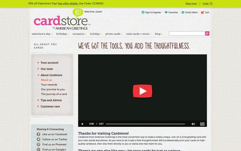 Screenshot of About Page cardstore.com - All About You | Cardstore - captured Jan. 25, 2016