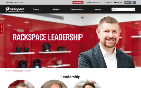 Screenshot of Team Page rackspace.com.au - Leadership | Rackspace Hosting - captured Oct. 31, 2014