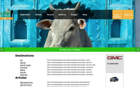 Screenshot of indianbackpacker.com - The Indian Backpacker | Budget Travel guide to India with free Guidebooks,Cheapest Hostels,Flights,Insurance,Buses and Adventure - captured Sept. 3, 2015