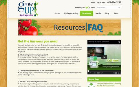 Screenshot of FAQ Page growuphydrogarden.com - Hydroponic Gardening Kit | FAQ | GrowUp Hydrogarden - captured Sept. 30, 2014