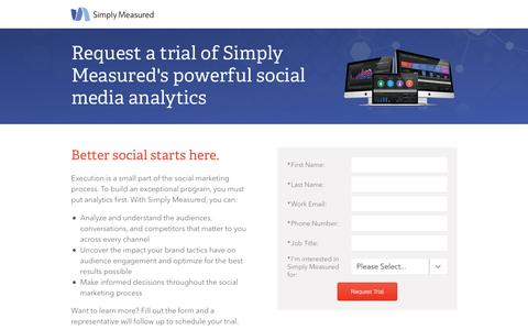 Screenshot of Trial Page simplymeasured.com - Start a free trial of Simply Measured | Simply Measured - captured May 10, 2016