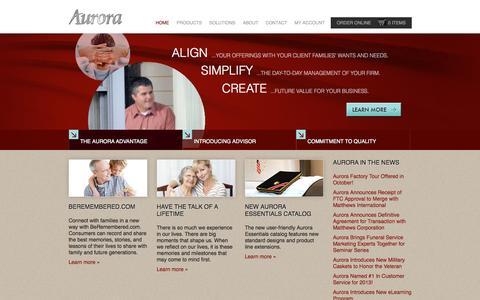 Screenshot of Home Page auroracasket.com - Aurora Advantage | Home - captured Sept. 14, 2015