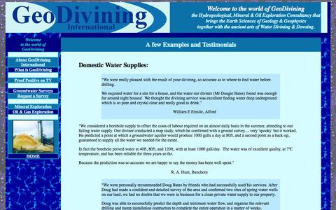 Screenshot of Testimonials Page geodivining.com - Testimonials - captured Oct. 2, 2014