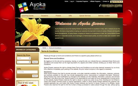 Screenshot of Terms Page ayokaflowers.com - Terms and conditions for sending flowers to Bangalore - captured Dec. 27, 2015