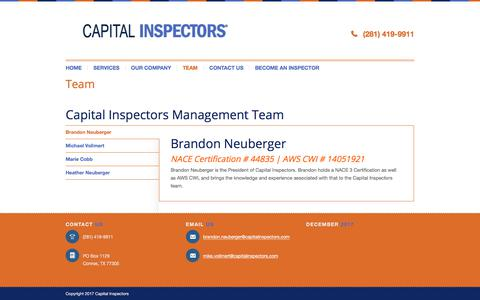 Screenshot of Team Page capitalinspectors.com - Get To Know Our Certified Coating Inspector Team - captured July 15, 2018