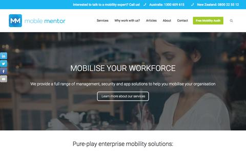 Screenshot of Home Page mobile-mentor.com - Mobile Mentor - Pure-play Enterprise Mobility Solutions - captured Feb. 14, 2016