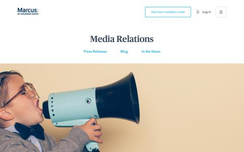Screenshot of Press Page marcus.com - Media Relations | Marcus by Goldman Sachs® - captured July 31, 2019
