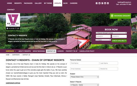 Screenshot of Contact Page vresorts.in - Contact V Resorts - chain of offbeat resorts at offbeat destinations - captured Sept. 23, 2014