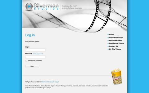 Screenshot of Login Page silvermanstudios.com - Video production services > Corvallis Oregon > Promotional, Corporate, Marketing, Educational > Videographers - Log in - captured Oct. 9, 2014