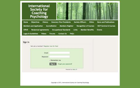 Screenshot of Login Page isfcp.net - Login - International Society for Coaching Psychology - captured Feb. 11, 2016