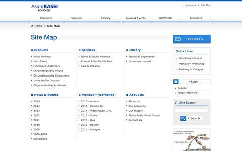 Screenshot of Site Map Page ak-bio.com - Site Map  |Asahi Kasei Bioprocess - captured Feb. 6, 2016