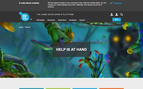 Screenshot of Support Page madewithmarmalade.com - Game and App Developer Support - Marmalade Support - captured Feb. 6, 2016