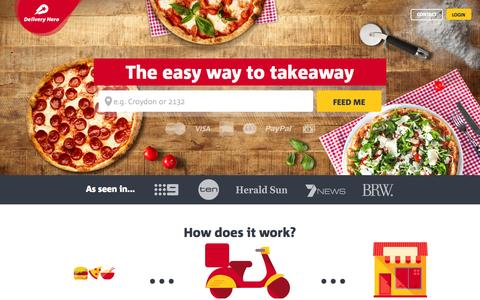 Screenshot of Home Page deliveryhero.com.au - Order Takeaway & Food Delivery Online with Delivery Hero - captured Oct. 1, 2015