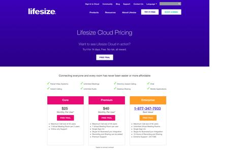 Screenshot of Pricing Page lifesize.com - Cloud Video Conferencing Pricing   Subscription Plans   Lifesize - captured Jan. 17, 2016