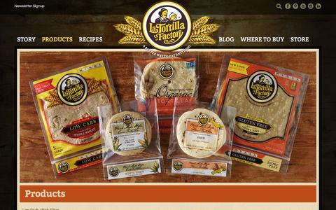 Screenshot of Products Page latortillafactory.com - Products - La Tortilla Factory - captured Dec. 6, 2015