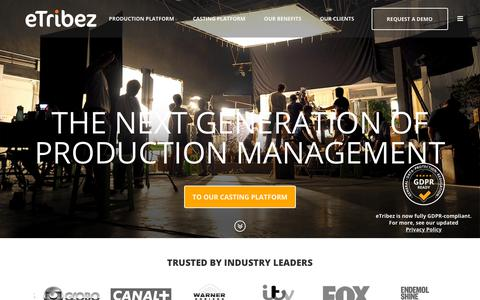 Screenshot of Home Page etribez.com - eTribez - Entertainment Industry's leading digital solutions provider - captured Nov. 4, 2018