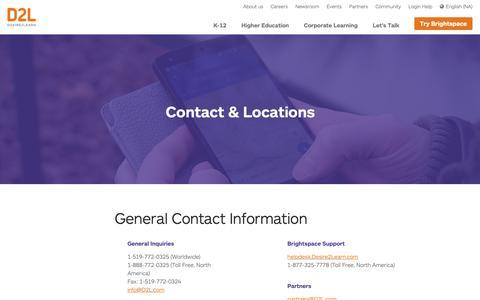 Screenshot of Locations Page d2l.com - Contact Info & Office Locations | D2L - captured Nov. 8, 2018