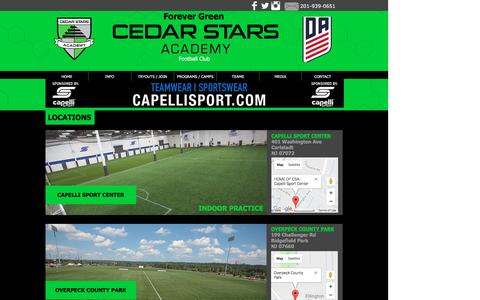 Screenshot of Locations Page cedarstars.com - cedarstarsacademy | LOCATIONS - captured April 6, 2017