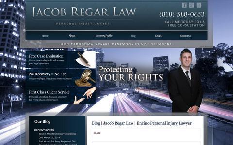 Screenshot of Blog jacobregarlaw.com - Blog | Jacob Regar Law | Encino Personal Injury Lawyer - captured June 13, 2016