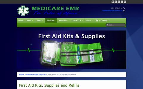Screenshot of Services Page medicare-emr.co.za - Medicare EMR | First Aid Kits, Supplies and RefillsFirst Aid Kits, Supplies and Refills - Medicare EMR - captured Oct. 27, 2014