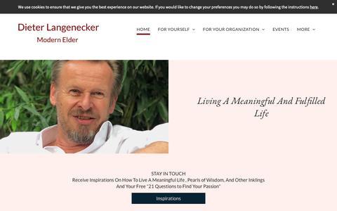 Screenshot of Home Page langenecker.com - Dieter Langenecker, Purpose Counselor, Life Mentor, Keynote Speaker - captured Oct. 8, 2018