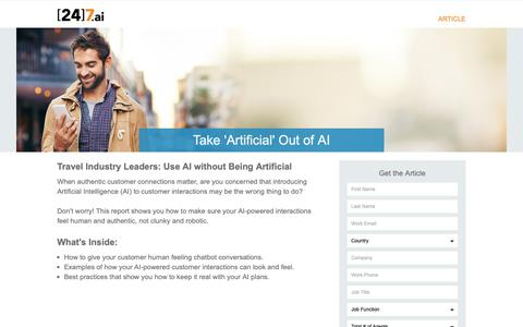 Screenshot of Landing Page 247.ai - Take 'Artificial' Out of AI - captured Nov. 26, 2018