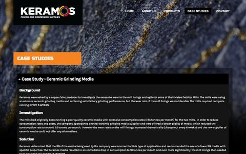 Screenshot of Case Studies Page keramos.com.au - Case Studies - Keramos Mining and Technical Supplies - captured Oct. 6, 2014