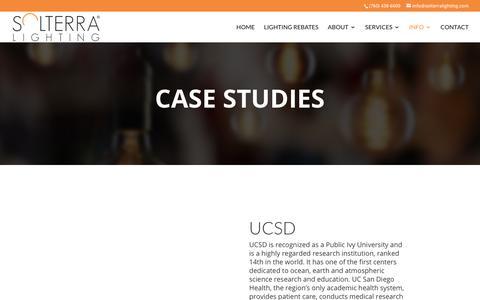 Screenshot of Case Studies Page solterralighting.com - Case Studies | Solterra Lighting - captured Sept. 20, 2018