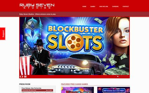 Screenshot of Home Page rubyseven.com - Ruby Seven Studios - Where winners come to play - captured Jan. 23, 2015