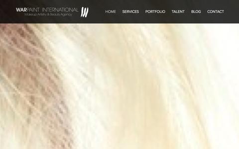Screenshot of Home Page warpaintinternational.com - Warpaint International Makeup Artistry & Beauty Agency - captured Oct. 4, 2014