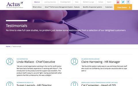 Screenshot of Testimonials Page actus.co.uk - Testimonials - Actus: Performance Management Software. - captured Nov. 20, 2016