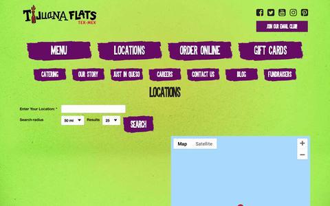 Screenshot of Locations Page tijuanaflats.com - Locations - Tijuana Flats - captured Nov. 11, 2018