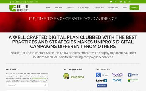 Screenshot of Contact Page unipro.co.in - Contact us for best digital marketing services and Internet advertising - captured Oct. 27, 2014
