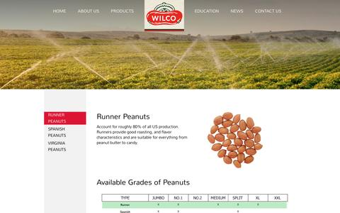 Screenshot of Products Page wilcopeanut.com - Runner Peanuts : Wilco - captured Oct. 1, 2016