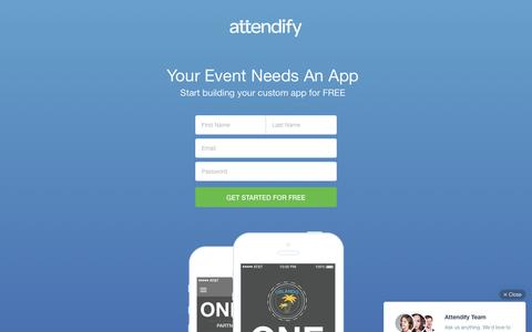 Screenshot of Landing Page attendify.com - Build a mobile app for your next event. Attendify - captured March 4, 2016
