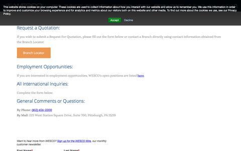 Screenshot of Contact Page wesco.com - Contact Us | WESCO International, Inc. - captured Dec. 16, 2019