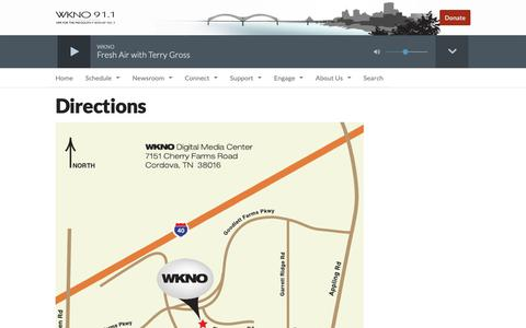 Screenshot of Maps & Directions Page wknofm.org - Directions | WKNO FM - captured Oct. 20, 2018