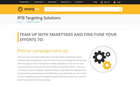 Screenshot of smartyads.com - RTB Targeting Solutions — SmartyAds - captured May 31, 2017