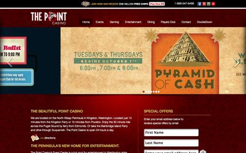 Screenshot of Home Page the-point-casino.com - The Point Casino - Premier Casino in Washington State - captured Oct. 9, 2014
