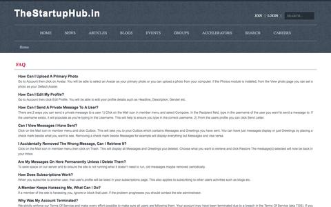 Screenshot of FAQ Page thestartuphub.in - FAQ - captured Oct. 9, 2014