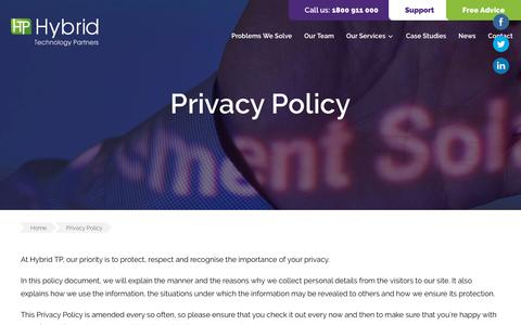 Screenshot of Privacy Page hybridtp.ie - Privacy Policy | Hybrid TP - captured Dec. 16, 2018