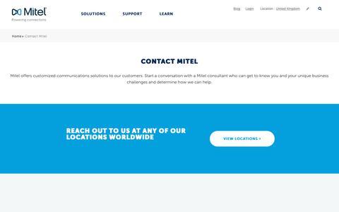 Screenshot of Contact Page mitel.com - Contact Mitel - captured Oct. 23, 2018