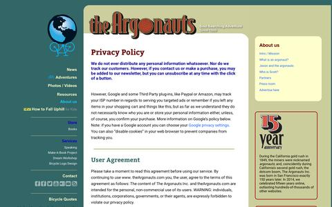 Screenshot of Privacy Page theargonauts.com - Privacy Policy - captured Aug. 14, 2016