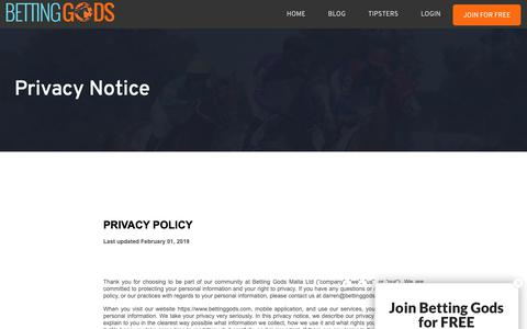 Screenshot of Privacy Page bettinggods.com - Privacy Notice   Betting Gods - captured June 16, 2019