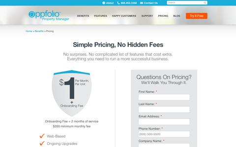 Screenshot of Pricing Page appfolio.com - Pricing for AppFolio's Property Management Software - captured June 16, 2015