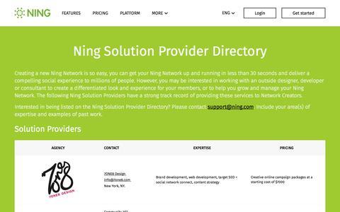 Screenshot of ning.com - Ning Solution Provider Directory - Find your custom Ning Solution - captured April 24, 2017