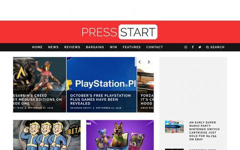 Screenshot of Home Page press-start.com.au - Press Start Australia - Bringing The Best Of Gaming To Australia - captured Sept. 29, 2018