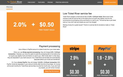 Screenshot of Pricing Page ticketprinting.com - Ticket River Pricing - captured June 28, 2017