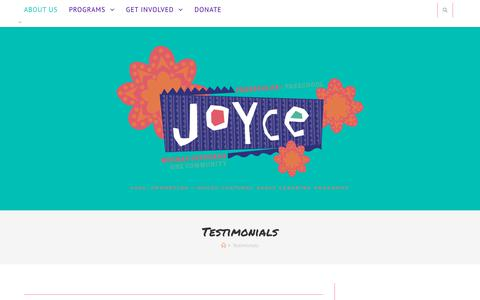 Screenshot of Testimonials Page joycepreschool.org - Testimonials – Joyce Preschool - captured Sept. 20, 2018